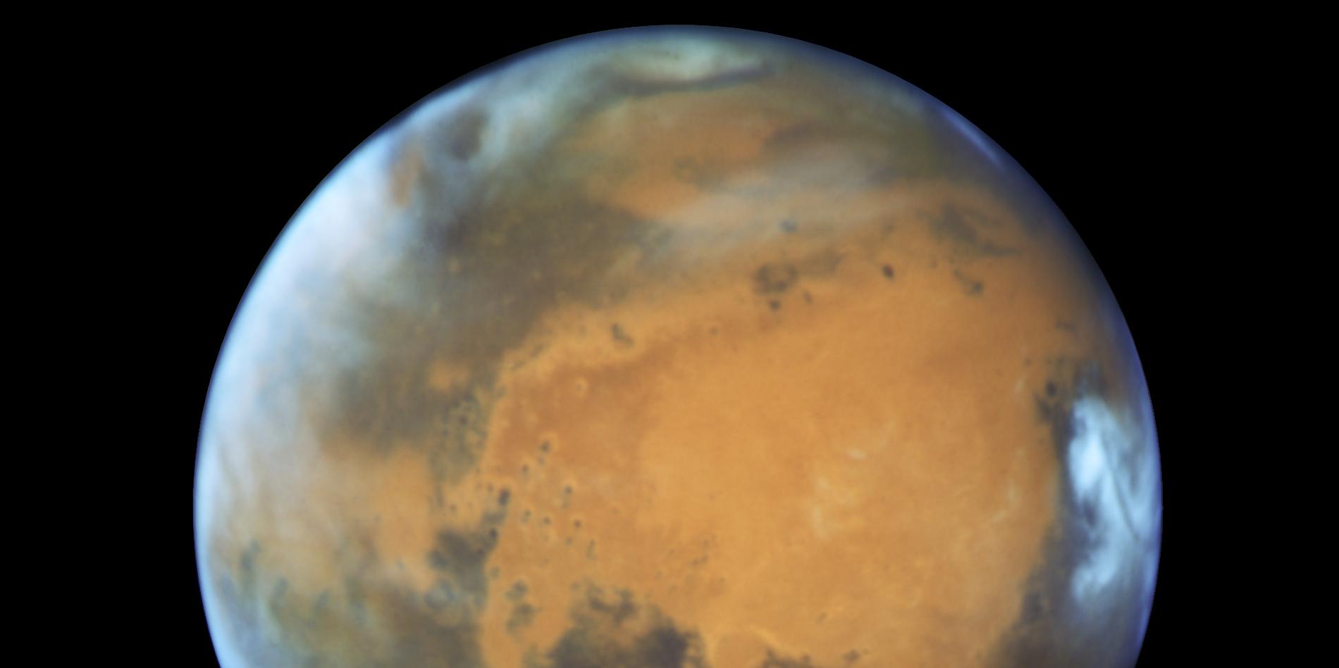 Mars vue par le télescope spatial Hubble.