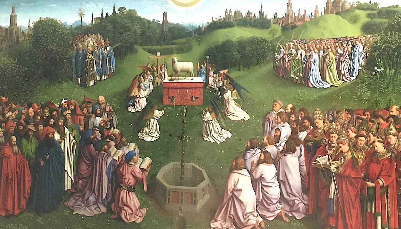 Extrait de l'Adoration, panneau central de l'Agneau mystique. © CDB